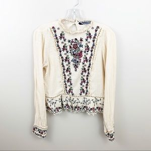 Zara cream floral boho embroidered long sleeve top